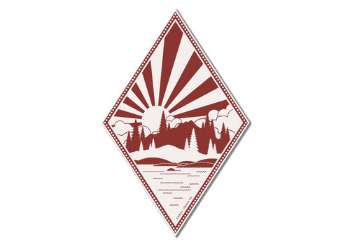FERAL FERAL Alpine Lake Red | White Sticker