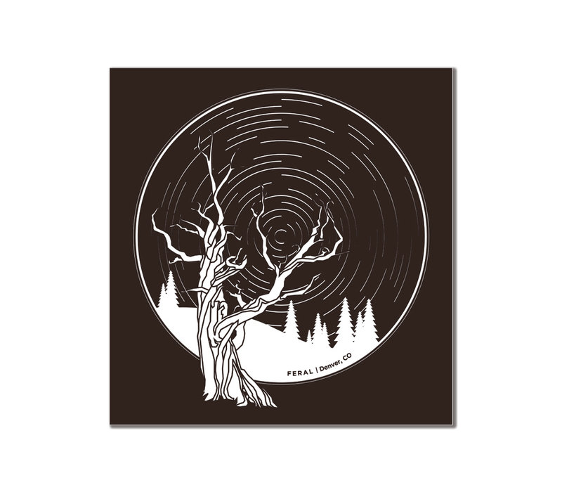 FERAL Trees and Startrails Brown Sticker