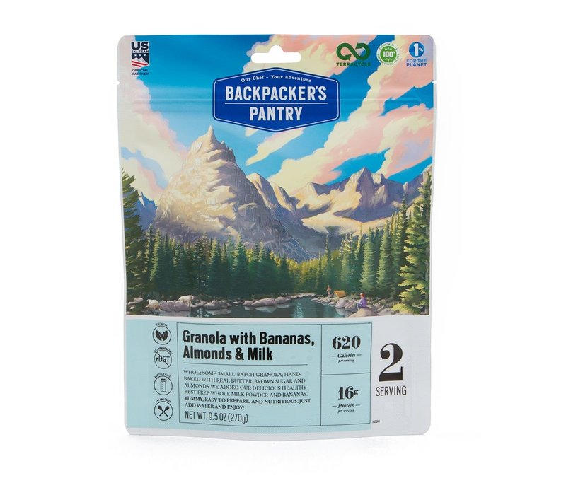 Backpacker's Pantry Granola With Bananas, Almonds & Milk (2 Servings - 9.5 oz)