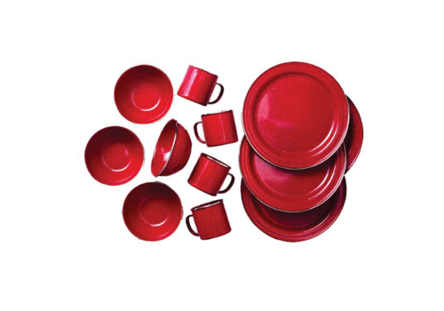 GSI Enamel Stainless Steel Rim 12 Piece Table Set Red