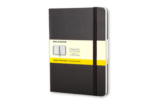 Moleskine Moleskine Classic Hard Cover Notebook, Squared, Pocket Size, Black
