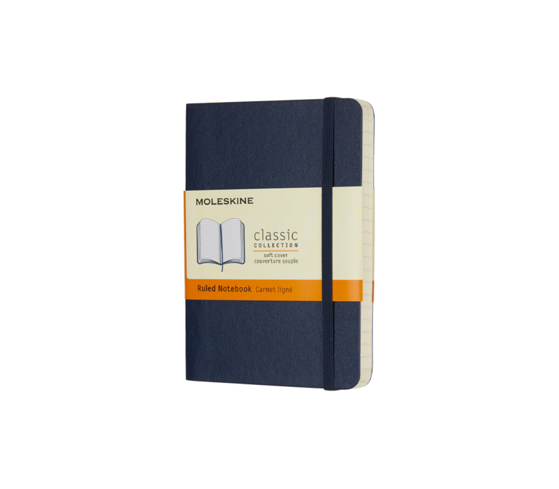 Moleskine Soft Cover Notebook, Ruled, Pocket Size, Sapphire Blue