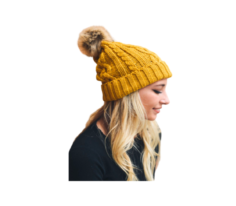 Leto Cable Knit Beanie with Faux Fur