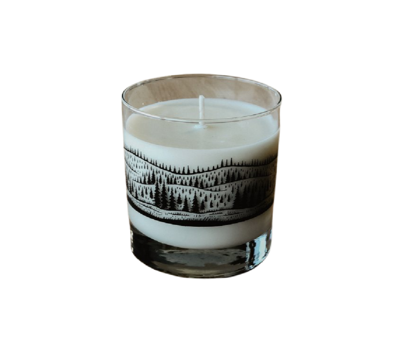 Moore Collection Tree Line Rocks Glass Candle