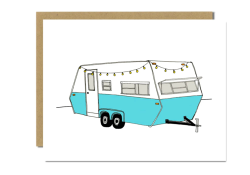 Sloe Gin Fizz Vintage Turquoise Camper Greeting Card