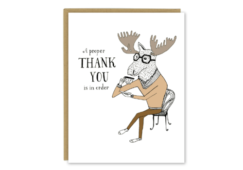 Sloe Gin Fizz Moose Drinking Tea Thank You Greeting Card