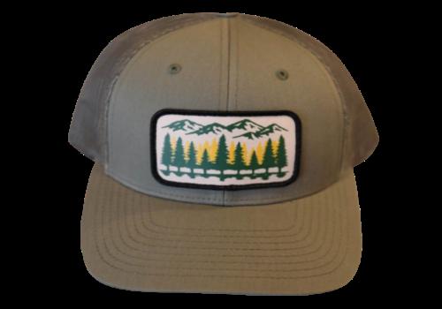 Montana Scene Tamarack Trees Trucker Hat - Olive