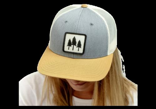 Montana Scene Tri Tone Tree Trucker Hat