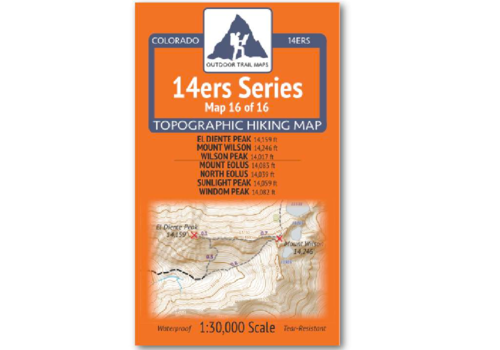 Outdoor Trail Maps 14er Series : El Diente | Wilson  | Eolus | North Eolus | Sunlight | Windom Map