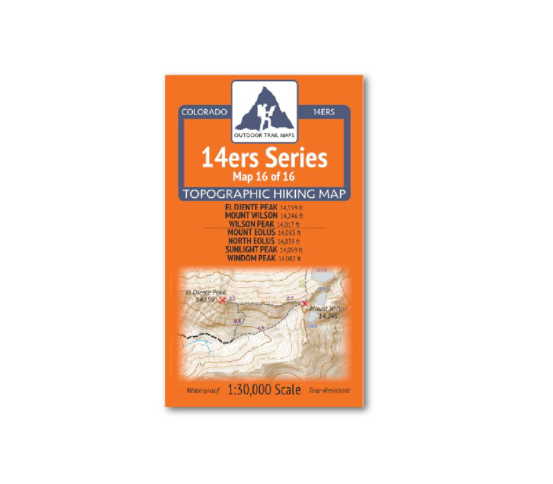Outdoor Trail Maps 14er Series Map 16/16: El Diente/Wilson/Eolus/North Eolus/Sunlight/Windom Map
