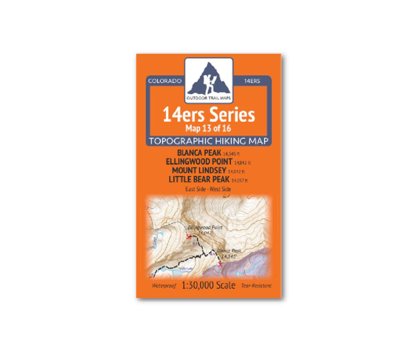 Outdoor Trail Maps 14er Series : Blanca | Ellingwood | Lindsey | Little Bear Map