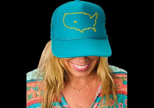 Arnie + Ollie Arnie + Ollie Colorado Love Teal Trucker Hat