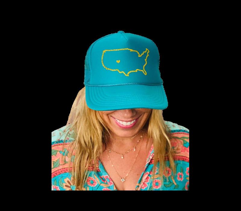 Arnie + Ollie Colorado Love Teal Trucker Hat