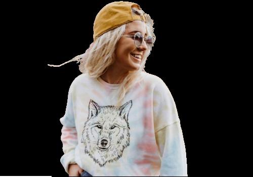 The Montana Scene Wolf Unisex Fleece Sweatshirt Tie Dye