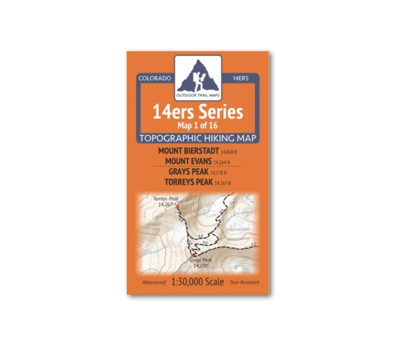 Outdoor Trail Maps 14er Series :  Bierstadt | Evans | Grays | Torreys Map