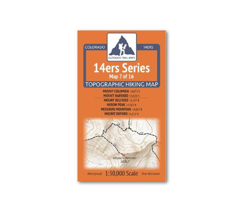 Outdoor Trail Maps 14er Series : Columbia | Harvard | Belford | Huron | Missouri | Oxford Map