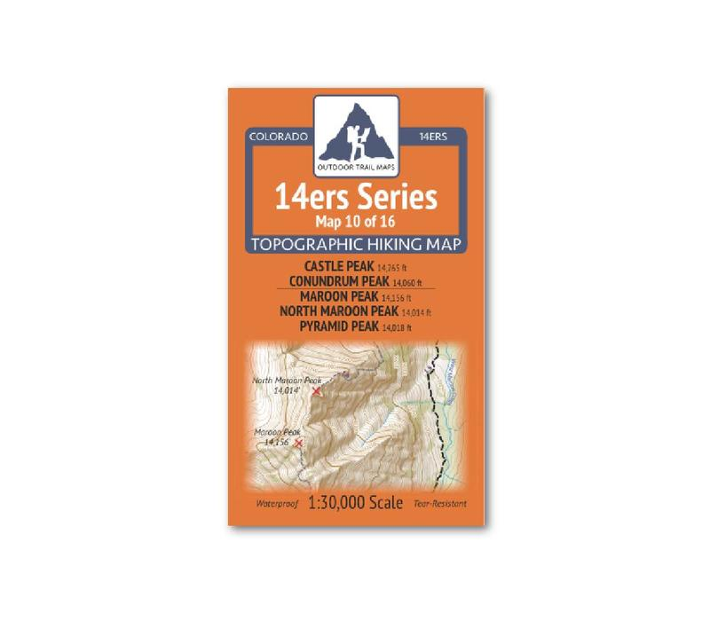 Outdoor Trail Maps 14er Series : Castle | Conundrum | Maroon |North Maroon | Pyramid Map