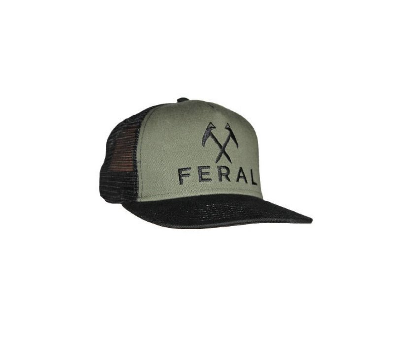 FERAL Embroidered Trucker Hat - Black/Olive