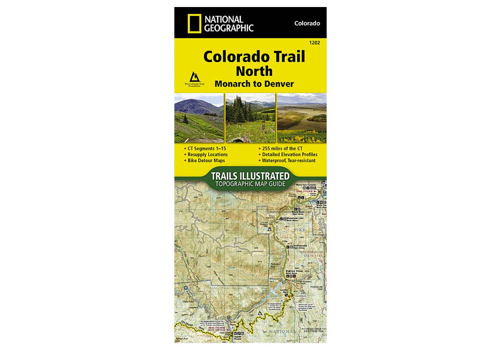 National Geographic 1202: Colorado Trail North Monarch to Denver Map on