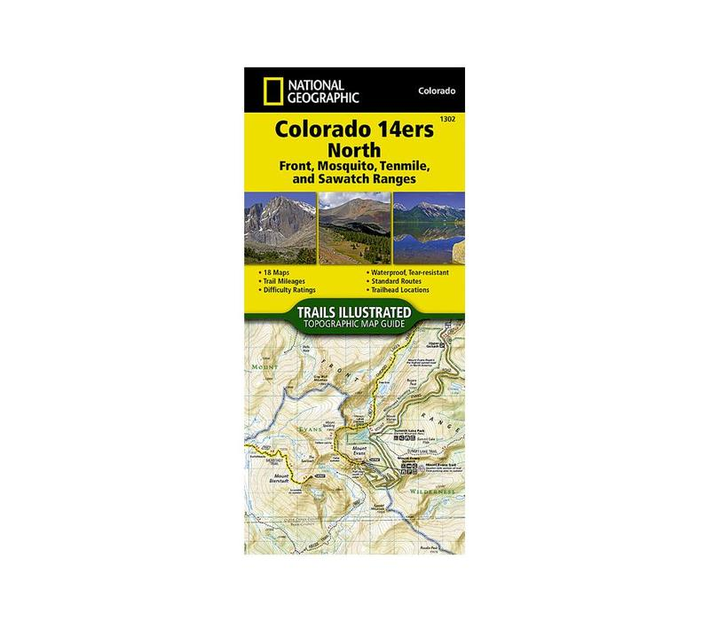 National Geographic 1302: Colorado 14ers North | Front | Mosquito | Tenmile | Sawatch Ranges Map
