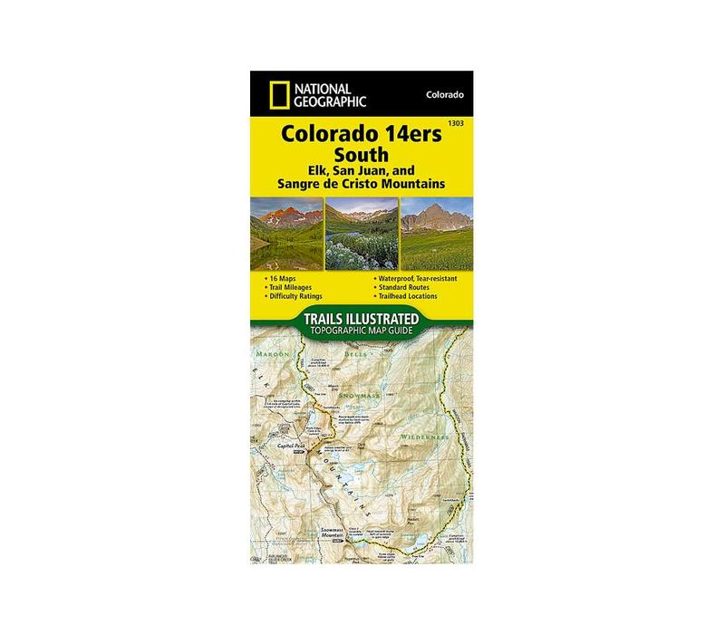 National Geographic 1303: Colorado 14ers South Map Guide (San Juan, Elk, and Sangre de Cristo Mountains)