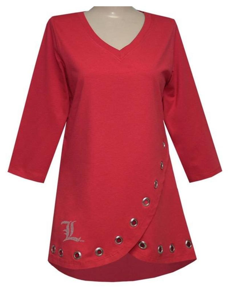TOP, LADIES, TULIP HIP, RED, UL