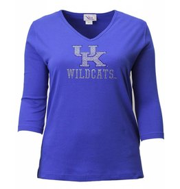 TEE, LADIES, 3/4 SLEEVE, ROYAL, UK