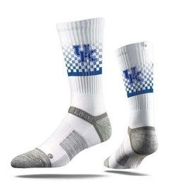 STRIDELINE SOCKS, CREW, CHECKER, WHITE, UK OSFM