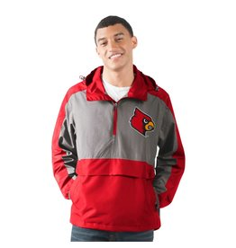 JACKET, RAIN, 1/2 ZIP, LEADOFF, RED/GRAY, UL
