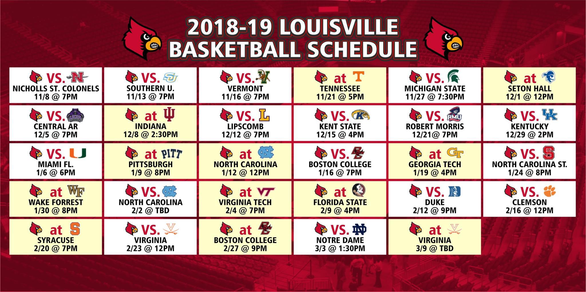 basketball schedule - jd becker's uk & uofl superstore