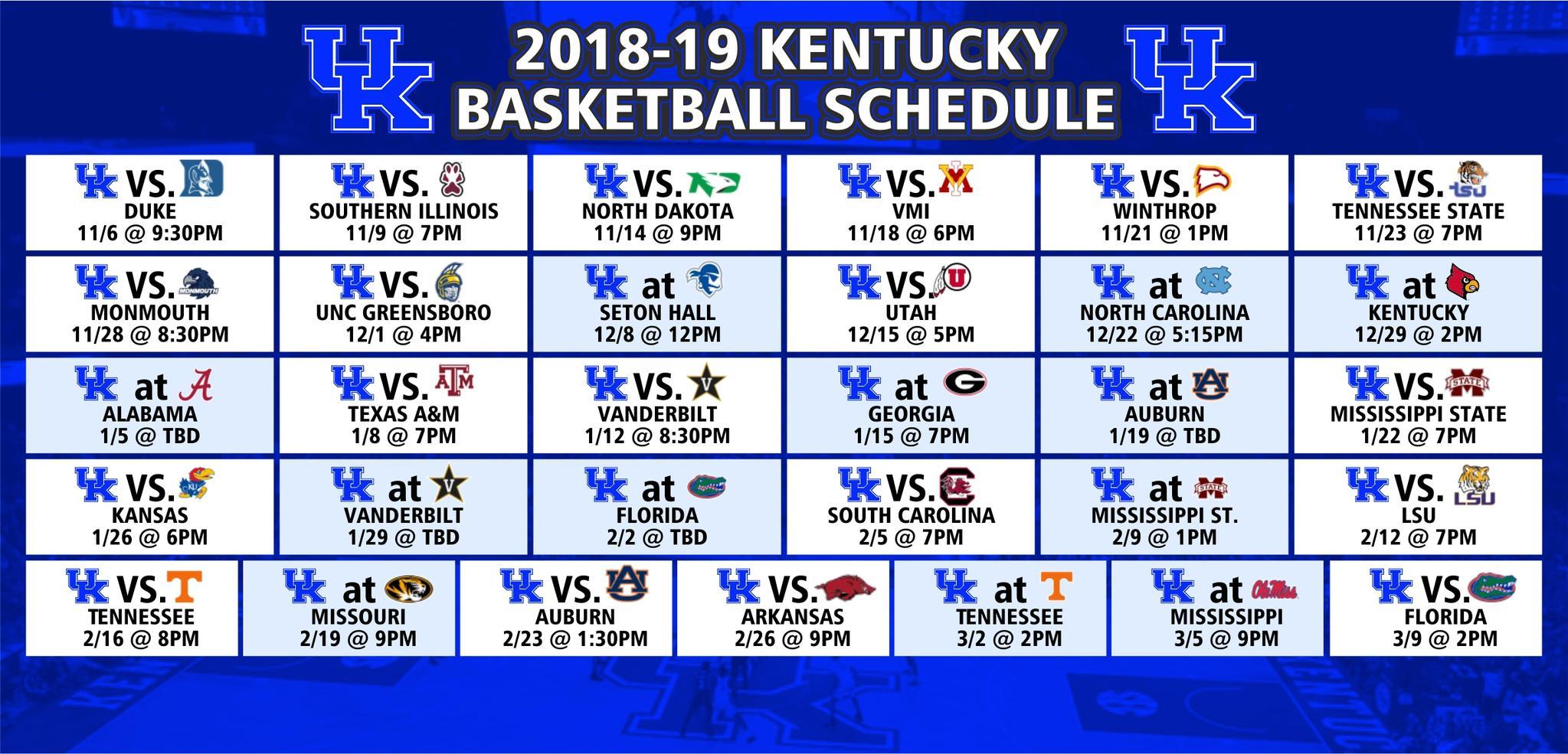 University Of Kentucky Basketball Schedule