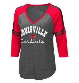 Colosseum Athletics TEE, LADIES, 3/4 SLEEVE, CURLING, CHA/RED, UL