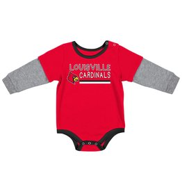 Colosseum Athletics ONESIE, INFANT, BUTTON LIFT, RED/GRY, UL