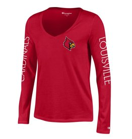 Champion Products TEE, LADIES, LS, UNIVERSITY V-NECK, RED, UL