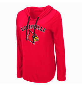 Colosseum Athletics TEE, LADIES, LS, HOODED, MY LOVER, RED, UL