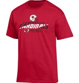 Champion Products TEE, SS, FOOTBALL, 2-SIDED, RED, UL-C