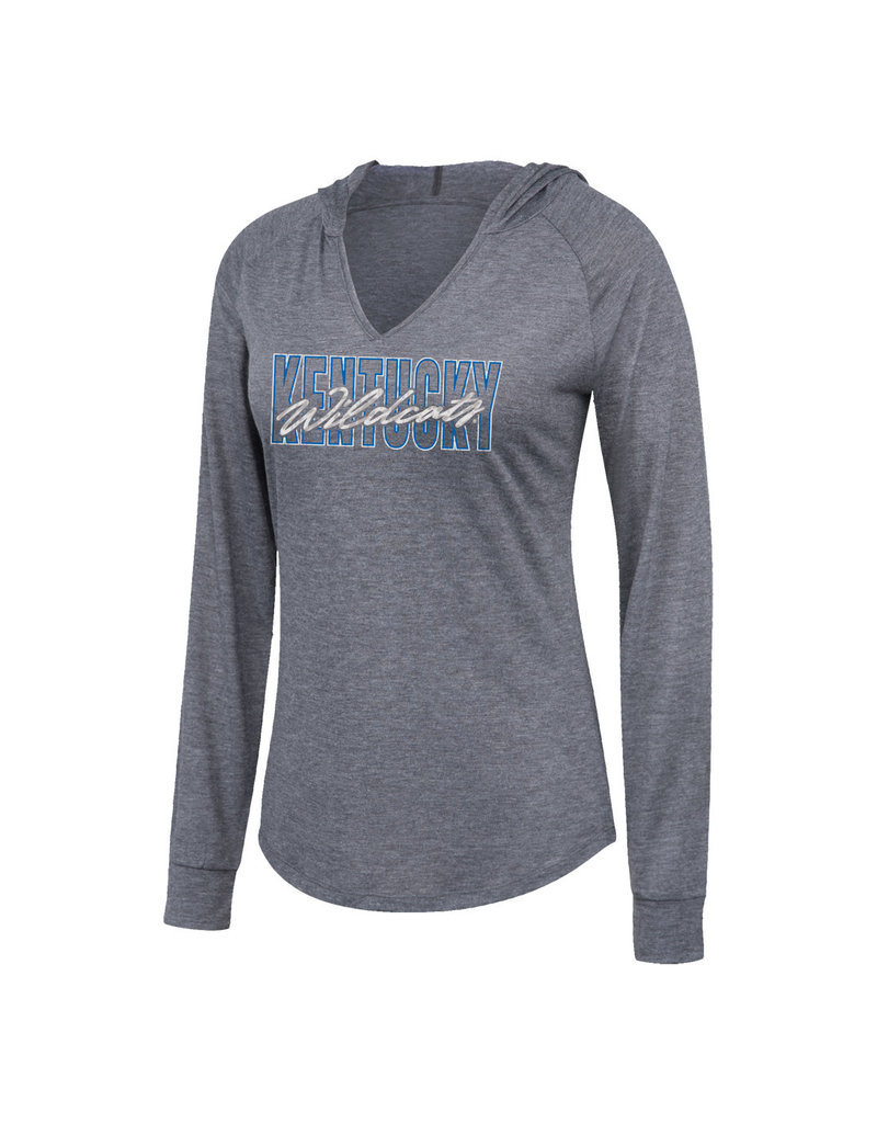 Top of the World TEE, LADIES, LS, HOODED, CHARCOAL, UK