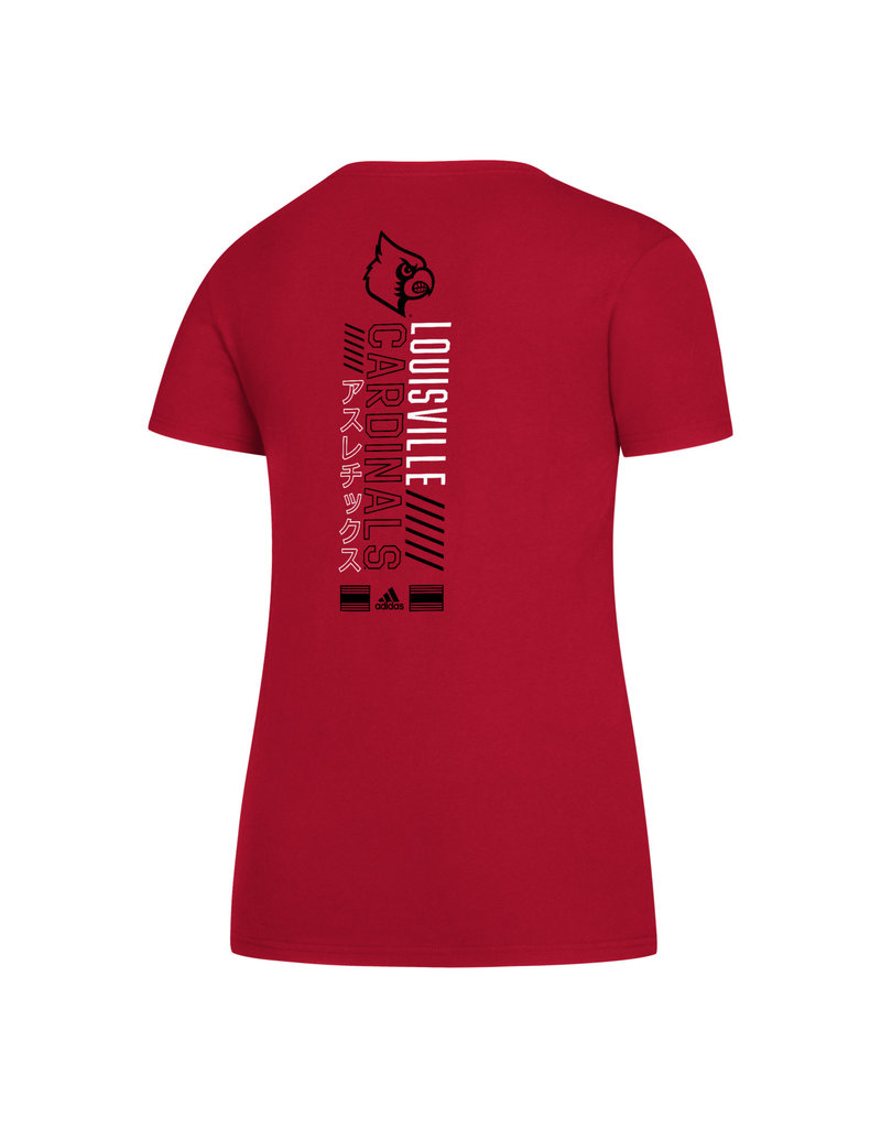 Adidas Sports Licensed TEE, LADIES, SS, ADIDAS, TAPE TO TAPE, RED, UL-C