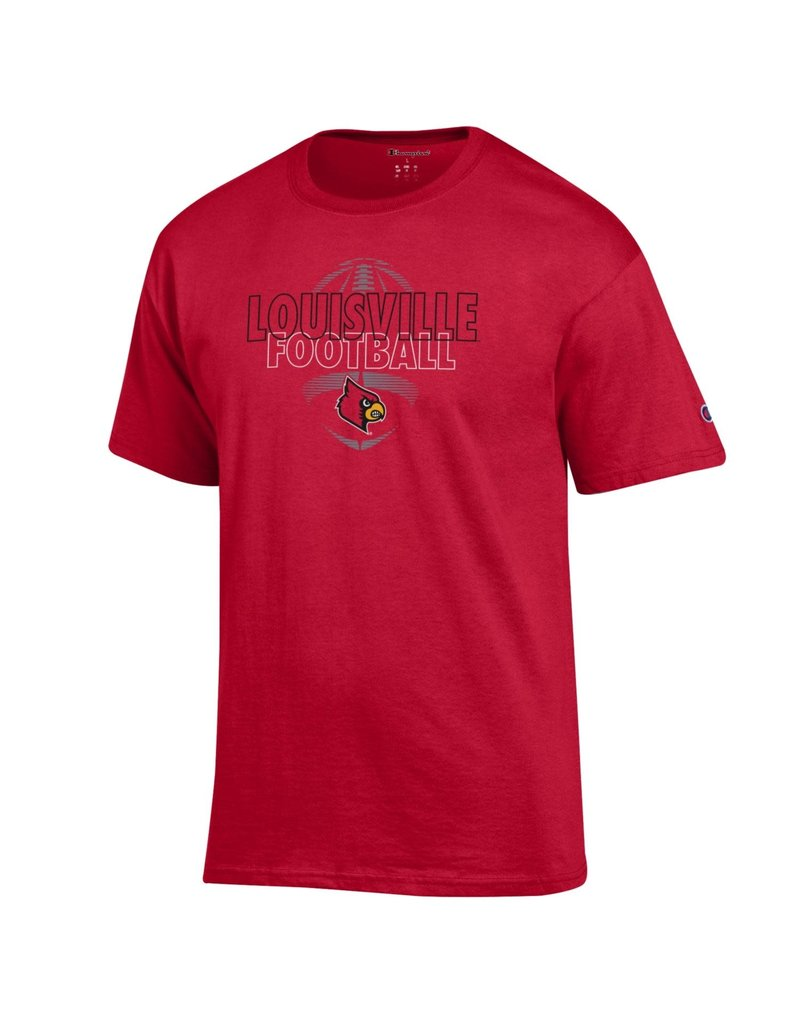 Champion Products TEE, SS, LOUISVILLE FOOTBALL, RED, UL