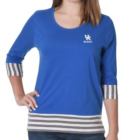 TEE, 3/4 SLEEVE,  STRIPE PANEL, ROYAL, UK