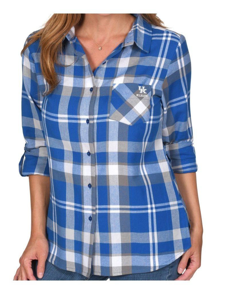 TOP, LADIES, PLUS SIZE, BOYFRIEND PLAID, ROYAL, UK