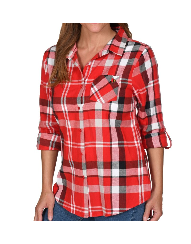 TOP, LADIES, BOYFRIEND PLAID, RED, UL