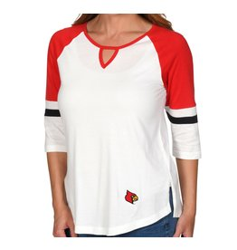 TOP, LADIES, BASEBALL TRIM, RED, UL