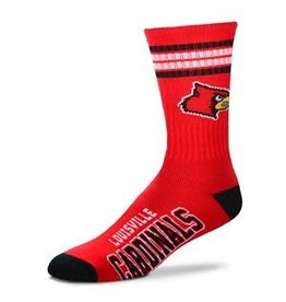 Bare Feet SOCKS, 4-STRIPE, RED, YOUTH, UL