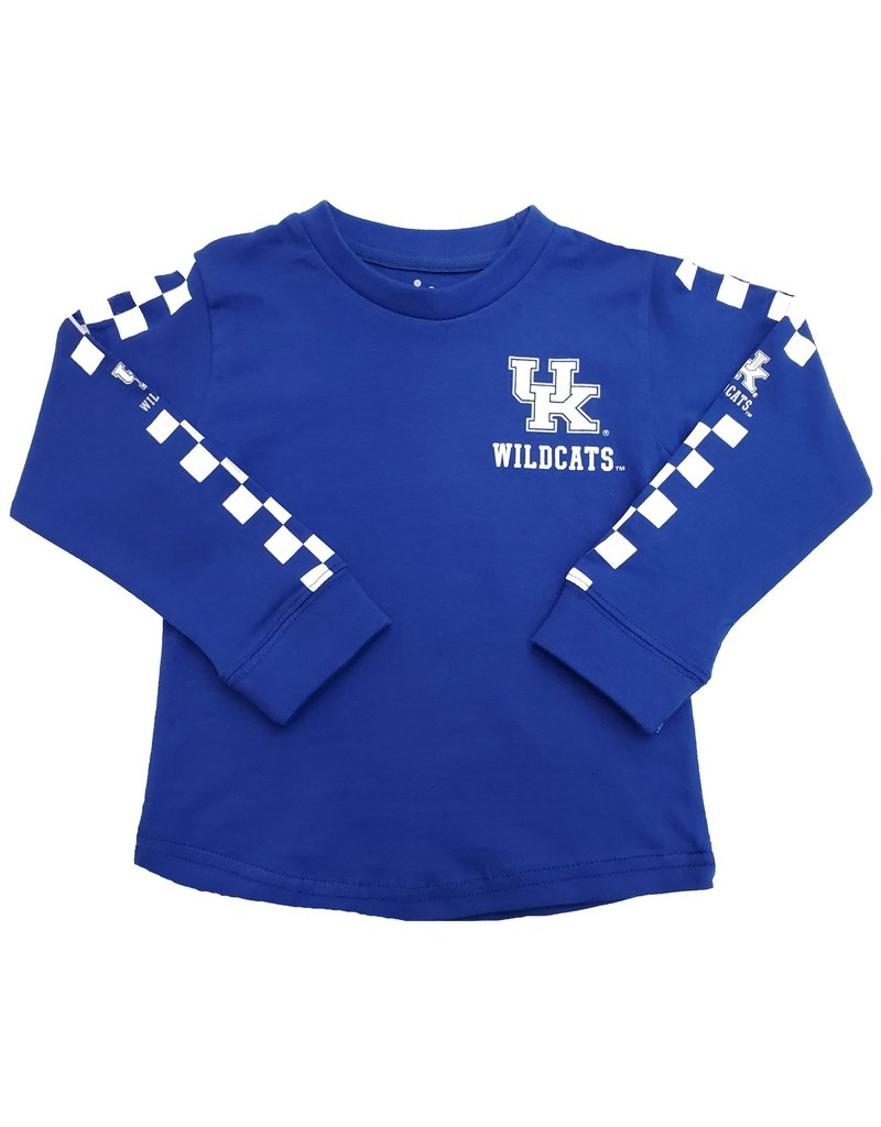 Little King TEE, TODDLER, LS, CHECK SLEEVES, ROYAL, UK