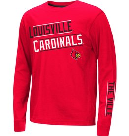 Colosseum Athletics TEE, YOUTH, LS, GROOMED, RED, UL