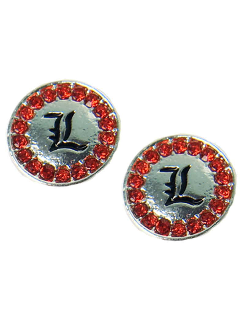 EARRINGS, RHINESTONES, CIRCLE -L-, UL