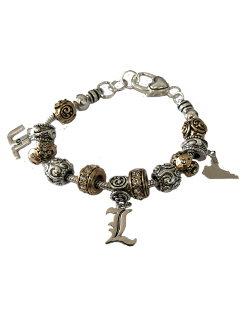 BRACELET, MIXED BEAD, SILVER/GOLD, UL