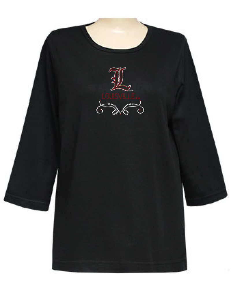 TEE, LADIES, 3/4 SLEEVE, STONES, BLACK, UL