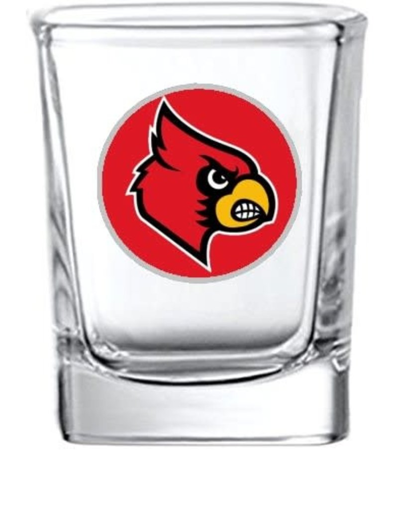 SHOT GLASS, SQUARE, RED, UL